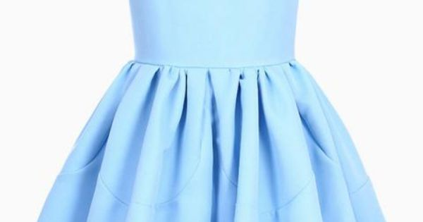 Pleated Sleeveless Puff Sky-blue skater Dress | victoriaswing