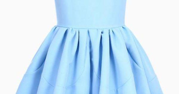 Pleated Sleeveless Puff Sky-blue skater Dress | victoriaswing