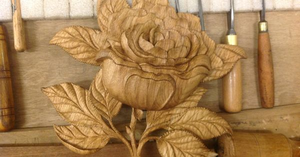 Lillyfee wood carving studio hand carved rose detail