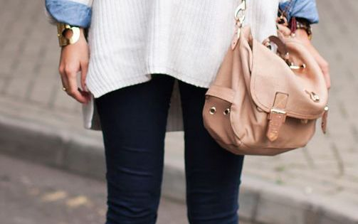 Lovely layers. White oversized sweater, denim shirt and jeans. Fall fashion trends