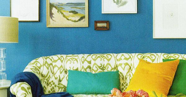 blue wall and this color scheme for the living room? I really