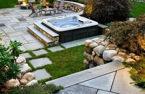 Peaceful hot tub with beautiful paving stones | spa-scaping | Pinterest | Hot tubs, Tubs and Stone