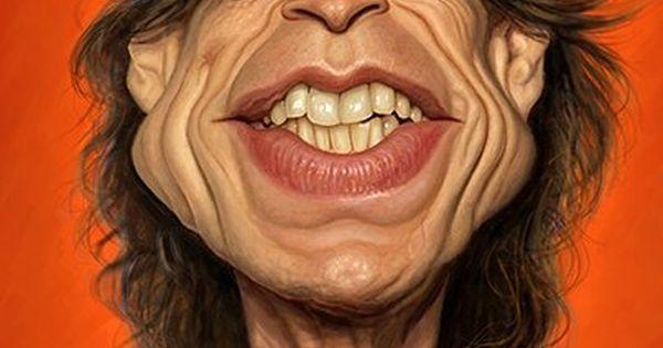 Caricatura del cantante de los Rolling Stones, Mick Jagger ... Rolling Stones