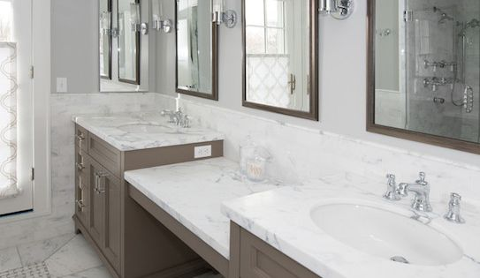 Long Bathroom, Elegant Bathroom, Elegant Master Bath, Half Walls, Half