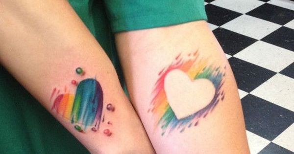 Creative matching tattoos. InkedMagazine heart tattoo couple matching love hearts inked tattoos