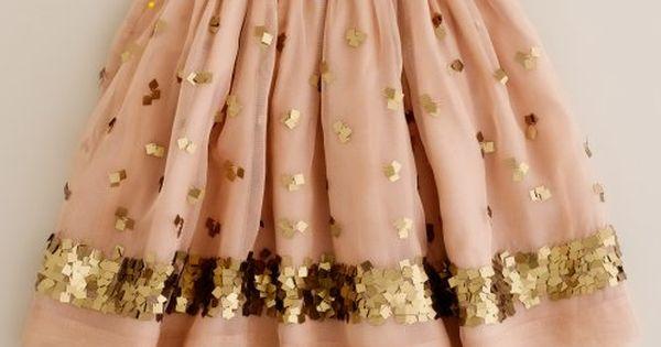 Girls' gold sequin ballet pink skirt crewcuts flower girl