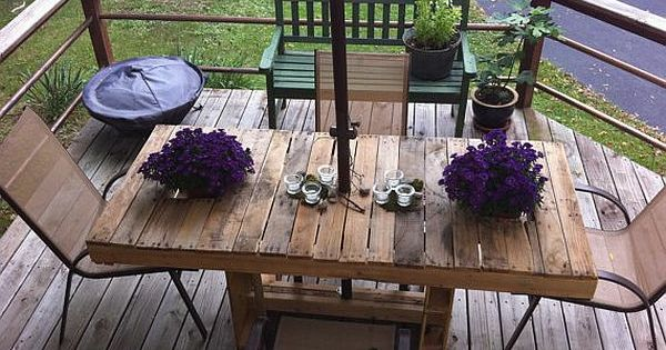 terrasse gestaltung aus paletten tisch mit st hlen gartenm bel aus paletten pinterest. Black Bedroom Furniture Sets. Home Design Ideas