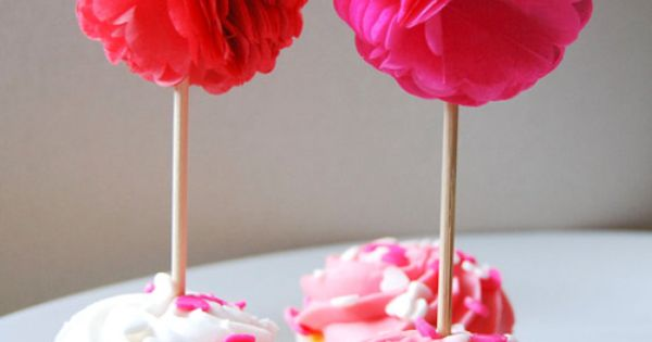 PomPom Cupcake Toppers. Made from Tissue paper.