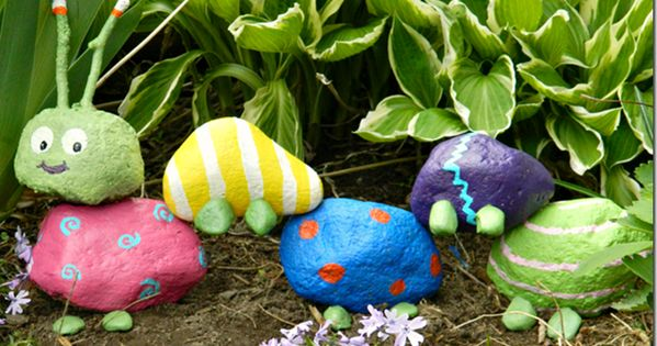 A garden rock caterpillar. cute kids craft idea