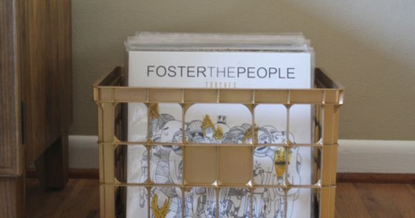 Diy gold spray painted milk crate record box must make for Milk crate crafts
