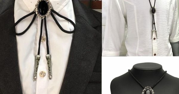 Fashion Vintage pendentif cuir Bolo tie cravate Western Cowboy Rodeo Collier
