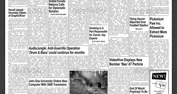 1950s newspaper template front page  u0026 inside page