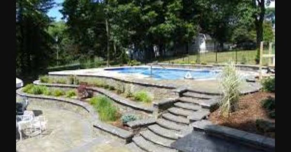 Inground Pool On Slope Bc Apparently We Need A Retaining Wall Pool Pinterest Retaining