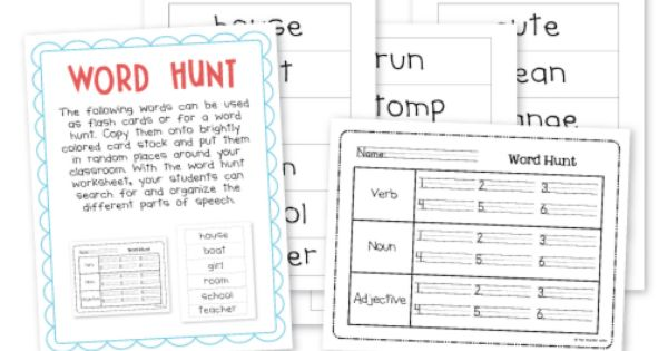 great for literacy center: hunting words in a book or around the