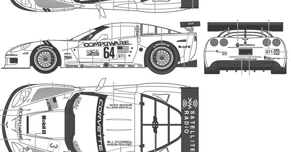 pinewood derby corvette template - chevrolet corvette c6 blueprint racing car blueprint