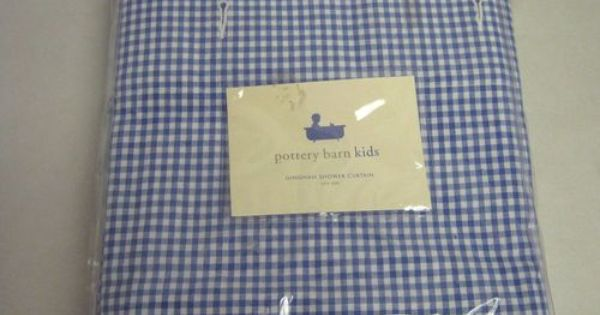 Shower Curtain Pottery Barn Kids Blue White Gingham New Pottery