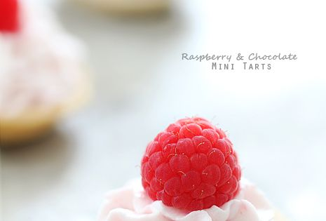 Chocolate Mini Tart Recipes | Raspberry and Chocolate Mini Tartlets via Bakers