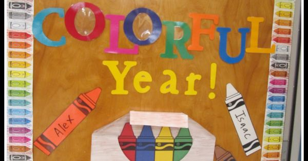 "I love colorful displays, so this crayon classroom door display ""Get Ready"