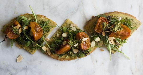 Slow Roasted Tomatoes + Arugula-Tarragon Pesto over Socca   Veggie ...