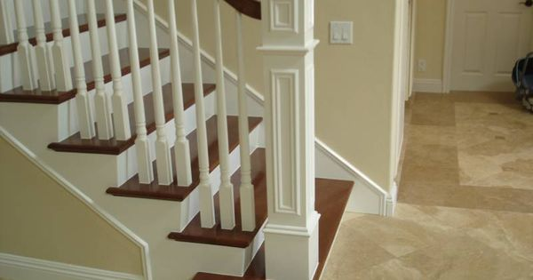 Foyer Staircase Kit : I like the newel post and squared wrapped bottom