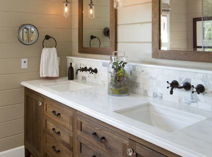 White Oak Double Vanity And Mirrors White Marble