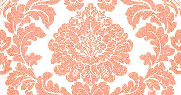 Delovely Faux Damask Print Coral Gold Metallic Glitter