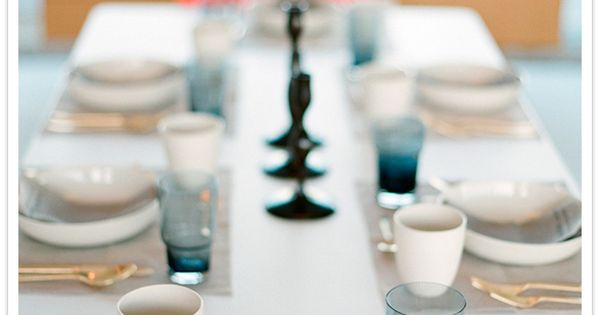 grey and white table setting