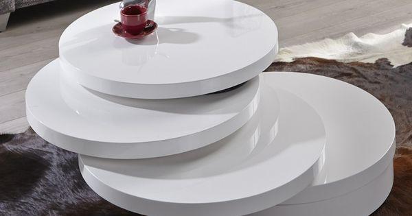 Dieser Couchtisch Wird Sie Begeistern 3 Drehplatten Weiss Hochglanz Puristisches Design Exklusive Funktionali Couchtisch Rund Runder Kaffeetisch Couchtisch