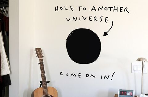 Portal wall decal. Or do it with paint. Cool for a Boys