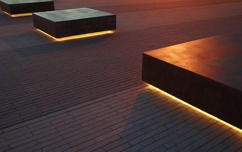 Geometric outdoor seating elements landscape for Eclairage exterieur led