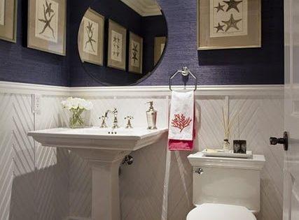small half bath powder room navy grasscloth | small home