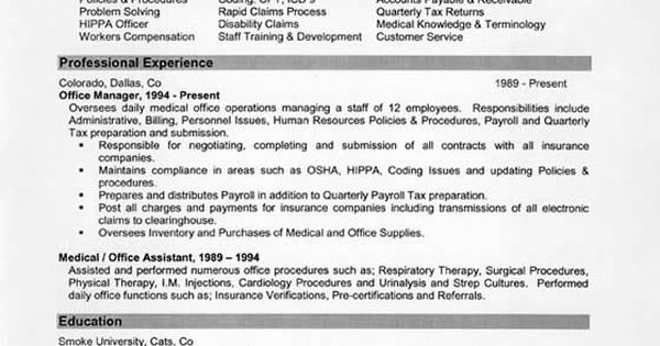 medical office administration resume example
