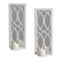 Decor Accessories Bed Bath Beyond White Metal Wall Sconce With Mirror Set Of 2 Mirrored Wall Iron Wall Sconces Metal Wall Sconce Candle Wall Sconces White wall sconces for candles