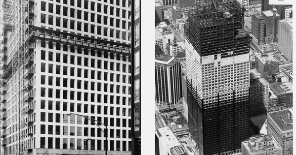 Modern Chicago Under Construction The Dewitt Chestnut Apartment Tower Left Photo Som And The Sears Tower Right Photo Copy Sears Tower Modern Skyscraper