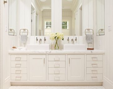 Master Bathroom White Vanity With Two Sinks And Large Mirrors