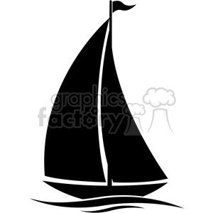 Sailboat Silhouette In Water With Flag Clipart Royalty Free
