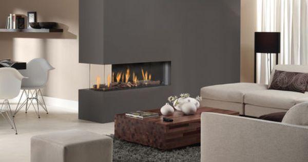 chemin e 3 faces contemporaine foyer ferm gaz metro. Black Bedroom Furniture Sets. Home Design Ideas