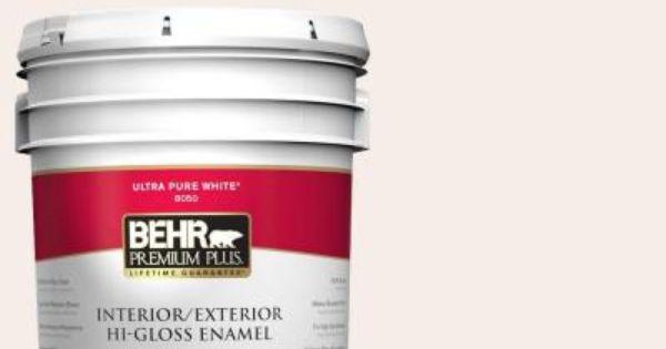 Behr Premium Plus 5 Gal Pwn 68 Angelic White Hi Gloss Enamel Interior Exterior Paint 805005 The Home Depot Exterior Paint Interior Paint Stained Blocks