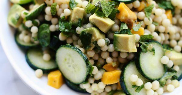Cucumber, Mango & Avocado Israeli Couscous Salad with Mint ...