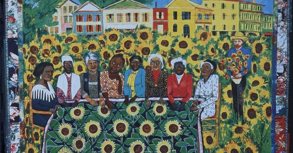 "the sunflower quilting bee at arles 1930) is represented in the show with the poster ""woman free yourself"" (1971)  and her piece ""the sunflower quilting bee at arles"" (1997."