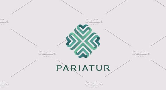 Abstract elegant heart flower logotype. Universal green premium symbol. Creative boutique vector ribbon logo