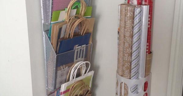 Organized Wrapping Station | Gift bags, Tissue, Wrapping Paper @ Ribbon. DIY