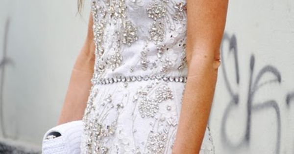 white lace dress with beading- best bridal shower dress!