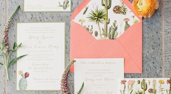 Wedding Invitations Az: Arizona Inspired Wedding Invitation Suite With Cactus And