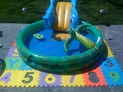 Save Your Grass Put Kiddie Pool On The Patio With Foam Mat Kiddie Pool Pool Toddler Swimming Pool