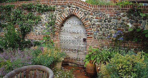Old Oak Door Flint Wall Brick Garden Brick Wall Gardens
