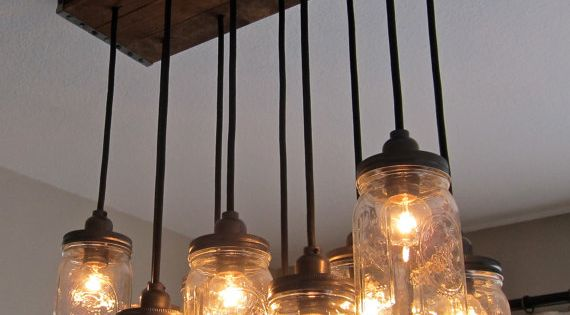 DYI upcycle Lighting Ideas. I love this Mason jar light fixture for