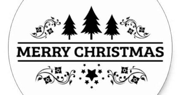 Black White Merry Christmas Classic Round Sticker Zazzle Com In 2021 Xmas Sticker Classic Christmas Christmas Stickers