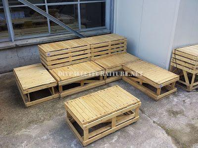 Muebles de palets planos para hacer bancos modulares con for Como hacer muebles con palets de madera