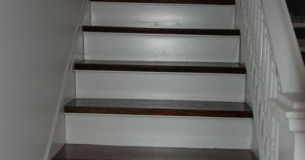 Dark Stained Stair Treads White Risers Project